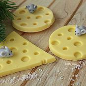 """Мыло ручной работы. Ярмарка Мастеров - ручная работа Мыло: """"Мышка на сыре"""" мини. Handmade."""