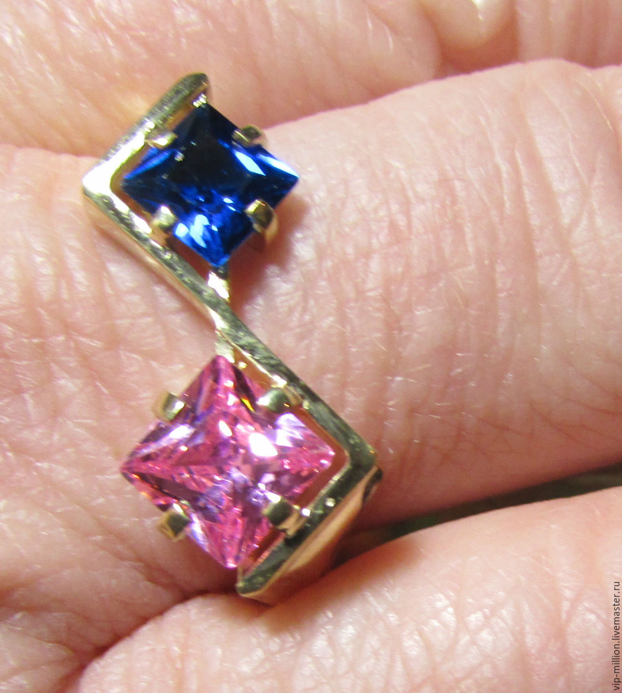 Silver(925)ring gold 585(EUR), sapphire and rose quartz, Rings, Haifa,  Фото №1