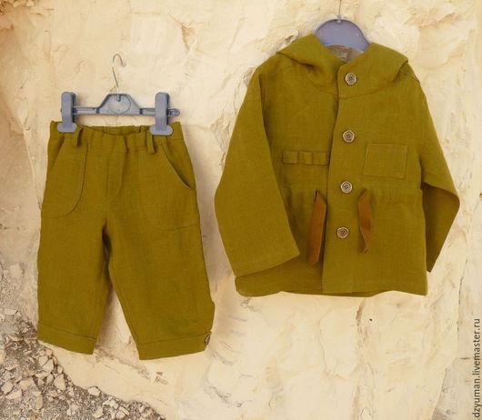 Одежда для мальчиков, ручной работы. Ярмарка Мастеров - ручная работа. Купить Льняной комплект - парка и бриджи. Handmade. Оливковый, лен