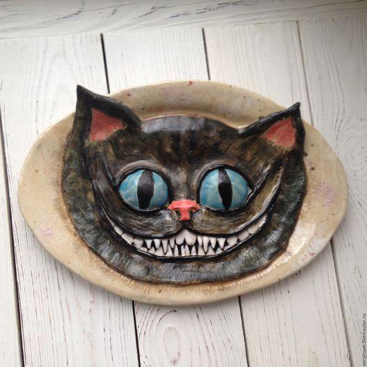 Декоративная посуда ручной работы. Ярмарка Мастеров - ручная работа. Купить Керамическая тарелка на стену Чеширский кот. Handmade. Комбинированный