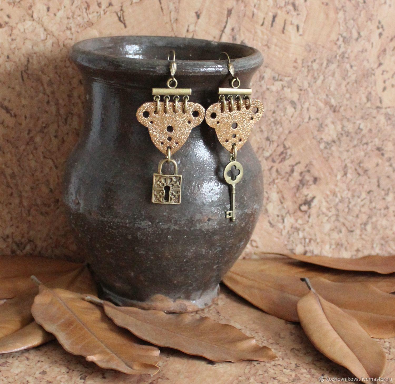 earrings: Leather earrings Key and lock, Earrings, Nizhnij Tagil,  Фото №1