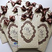 Свадебный салон ручной работы. Ярмарка Мастеров - ручная работа Свадебные приглашения в шоколадно-молочном цвете. Handmade.