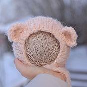 Работы для детей, ручной работы. Ярмарка Мастеров - ручная работа Шапка Медведь  для фотосессии новорожденных розовая. Handmade.