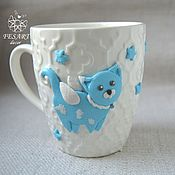 Посуда handmade. Livemaster - original item Mug with cat. Handmade.