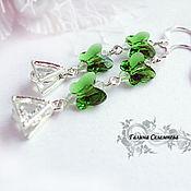 Украшения handmade. Livemaster - original item Silverplated earrings with Swarovski butterflies
