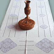Для дома и интерьера ручной работы. Ярмарка Мастеров - ручная работа Скатерть большая с ромбами, лён, вышивка мережки. Handmade.