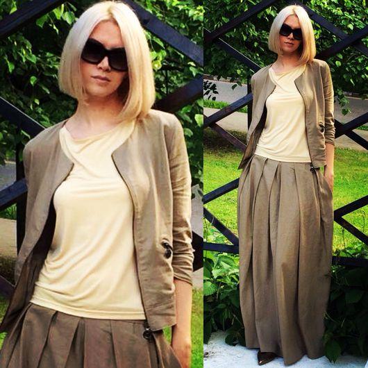Пиджаки, жакеты ручной работы. Ярмарка Мастеров - ручная работа. Купить Жакет / Бомбер и юбка в пол 100% лён. Handmade.