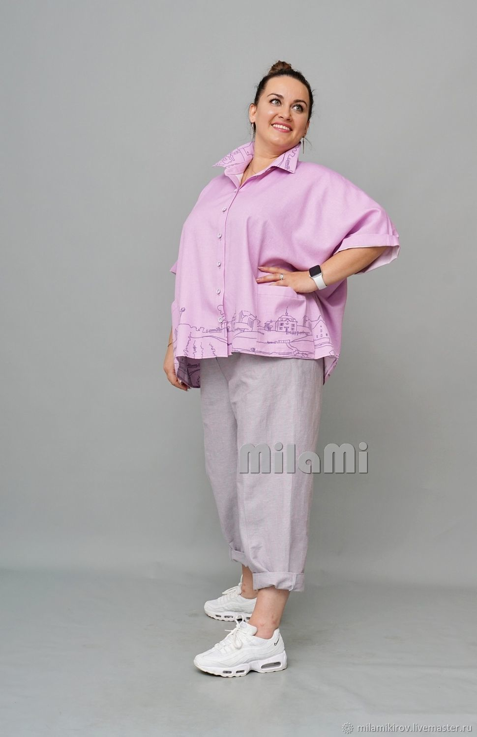.4410 Linen blouson, pink and lilac with a border, Blouses, Kirov,  Фото №1