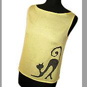 """Одежда ручной работы. Ярмарка Мастеров - ручная работа Топ-блузка """"Кошка"""" желтая. Handmade."""
