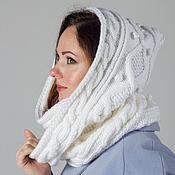 """Аксессуары ручной работы. Ярмарка Мастеров - ручная работа """"Белоснежка"""", шарф снуд капюшон вязаный женский, шарф вязаный женский. Handmade."""