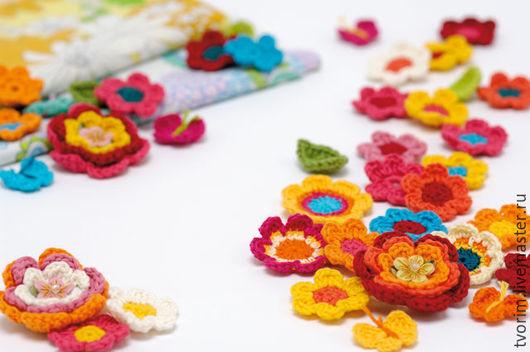 Цветы ручной работы. Ярмарка Мастеров - ручная работа. Купить Цветы крючком. Handmade. Комбинированный, цветы вязаные, пряжа