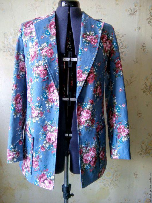 """Пиджаки, жакеты ручной работы. Ярмарка Мастеров - ручная работа. Купить Летний джинсовый пиджак  """" Цветы"""".. Handmade. Пиджак"""