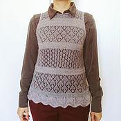 Одежда ручной работы. Ярмарка Мастеров - ручная работа Жилетка женская вязаная спицами, серый, ажур,100% шерсть, мохер. Handmade.