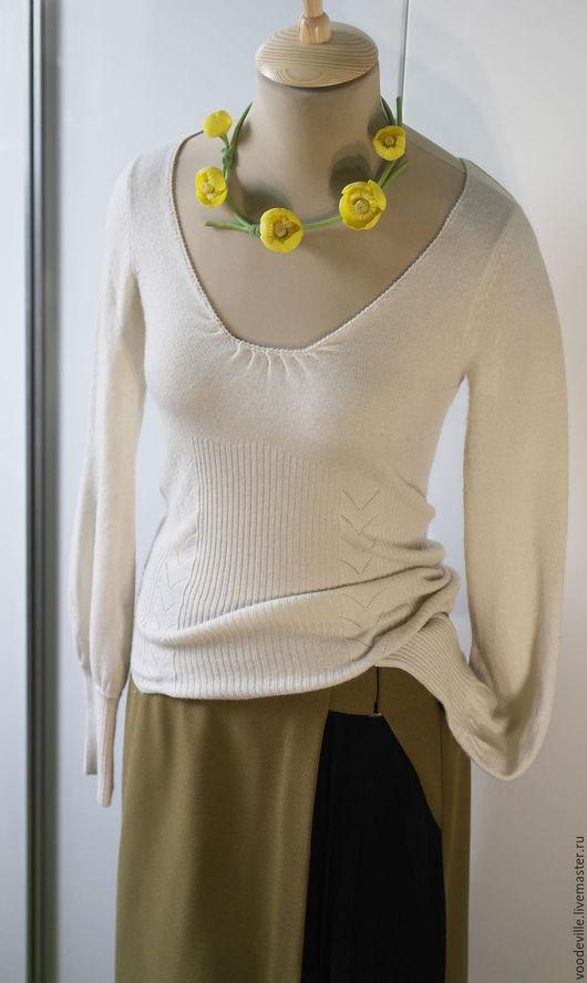 Одежда. Ярмарка Мастеров - ручная работа. Купить Свитер кашемировый с вырезом на спине. Handmade. Белый, вырез