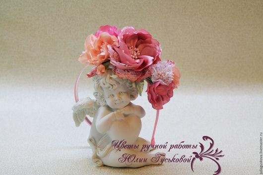 Диадемы, обручи ручной работы. Ярмарка Мастеров - ручная работа. Купить Ободок  с цветами. Handmade. Бледно-розовый, белый, атлас