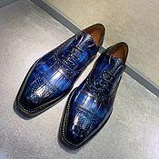 Обувь ручной работы handmade. Livemaster - original item Crocodile leather brogues, hand-painted, dark blue.. Handmade.