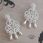 Свадебный салон handmade. Livemaster - original item Wedding earrings chandelier Pearl tatting lace. Handmade.