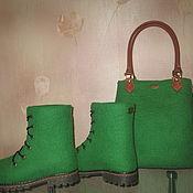 """Обувь ручной работы. Ярмарка Мастеров - ручная работа Валяные ботинки и сумка """"Летняя зима"""". Handmade."""