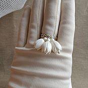 handmade. Livemaster - original item Ring snowdrops. Ivory.. Handmade.
