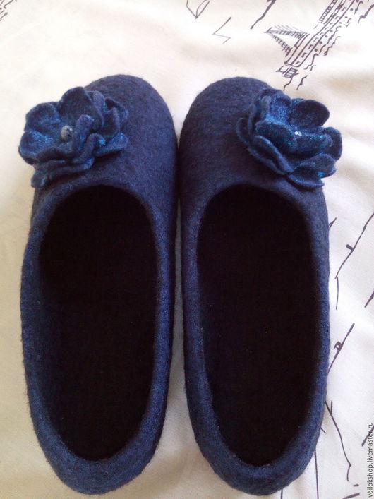 Обувь ручной работы. Ярмарка Мастеров - ручная работа. Купить Туфли домашние. Handmade. Тёмно-синий, туфли женские