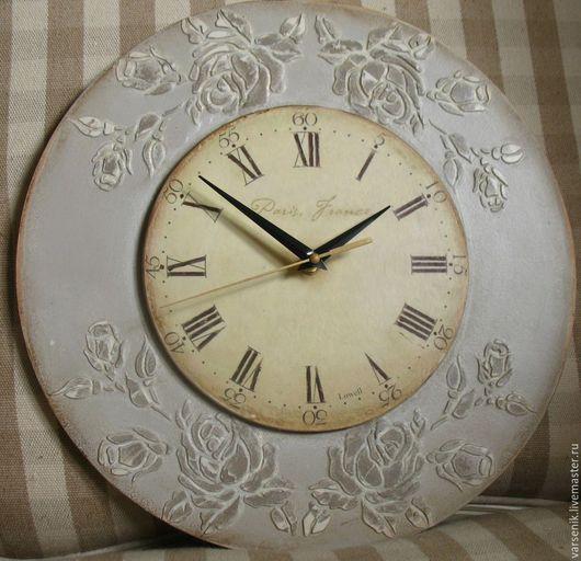 Часы для дома ручной работы. Ярмарка Мастеров - ручная работа. Купить Настенные часы Прованс в сером. Handmade. Прованский стиль