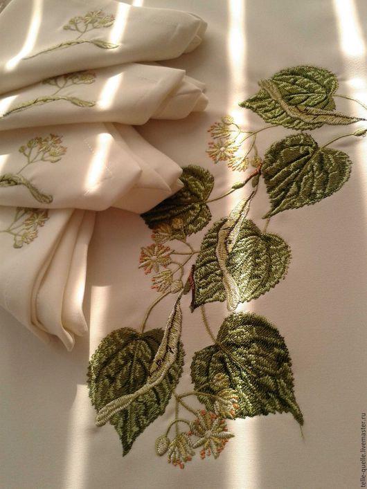 """Текстиль, ковры ручной работы. Ярмарка Мастеров - ручная работа. Купить Программа машинной вышивки """"Липа"""". Handmade. Белый"""