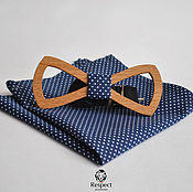 Аксессуары handmade. Livemaster - original item Wooden bow tie Handkerchief Mr. Pasha dark blue polka dot. Handmade.