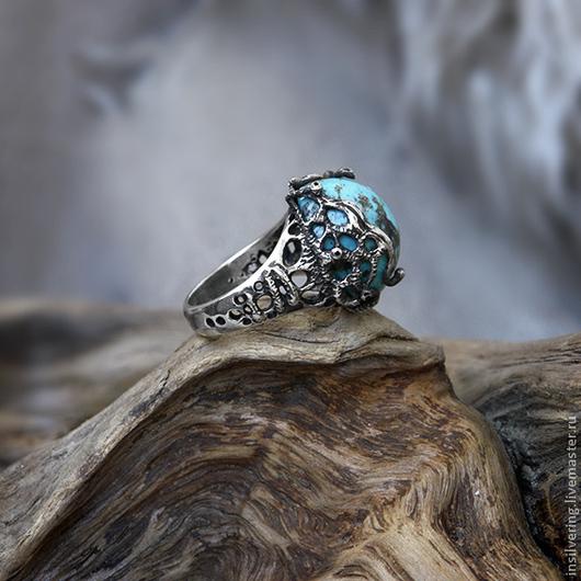"""Кольца ручной работы. Ярмарка Мастеров - ручная работа. Купить Кольцо """"Науру"""". Handmade. Бирюзовый, бохо, бирюза"""