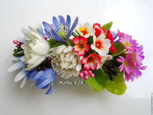 Заколка с весенними цветами,заколка для волос,ручная авторская работа