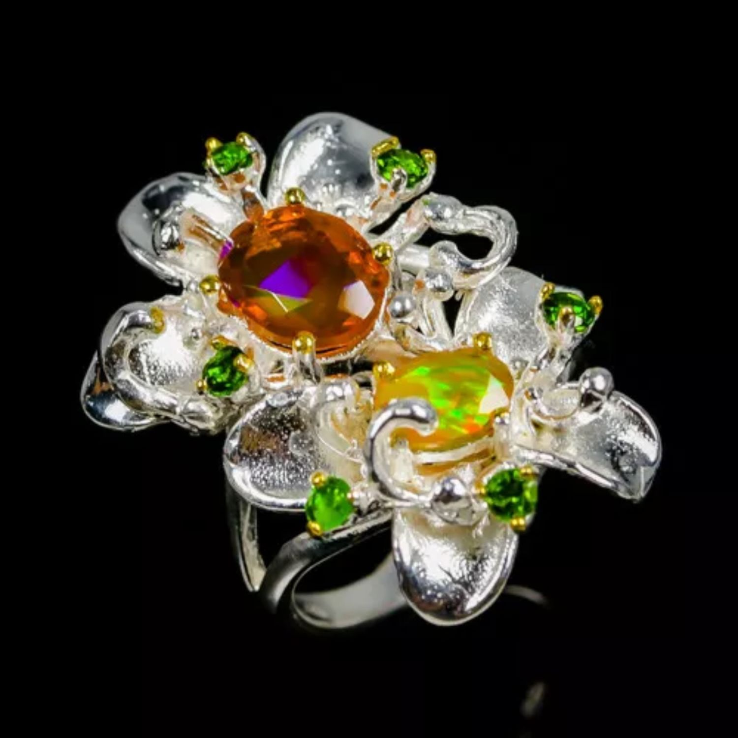 Fancy flower ring with orange and fire opal, Rings, Volgograd,  Фото №1