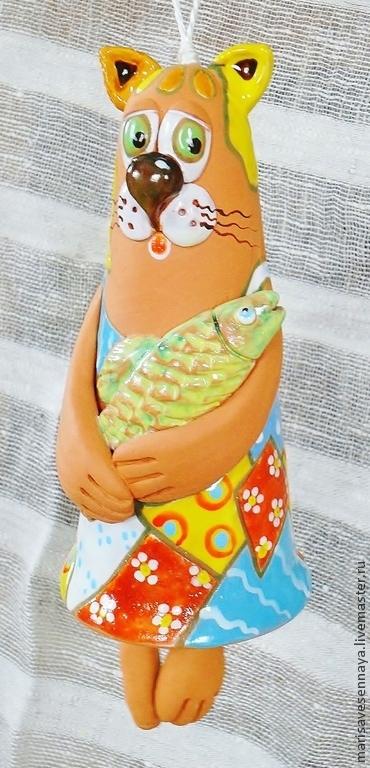 Колокольчики ручной работы. Ярмарка Мастеров - ручная работа. Купить Керамика Колокольчик керамический Котик с рыбкой. Handmade. Керамика, майолика