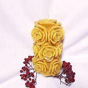 Свечи ручной работы. Ярмарка Мастеров - ручная работа Жёлтая литая свеча в форме букета из роз. Handmade.
