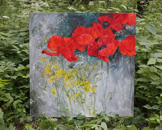 Картины цветов ручной работы. Ярмарка Мастеров - ручная работа. Купить Маки и травы. Handmade. Ярко-красный, морковник, poppy