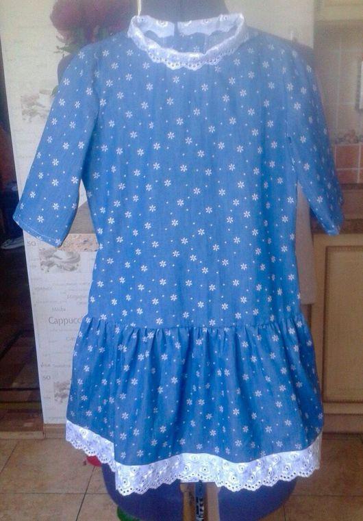 Одежда для девочек, ручной работы. Ярмарка Мастеров - ручная работа. Купить Платье для девочки из легкой джинсы. Handmade. Платье, хлопок