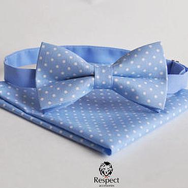Аксессуары ручной работы. Ярмарка Мастеров - ручная работа Голубая галстук бабочка в горошек + нагрудный платок Голубая лагуна. Handmade.