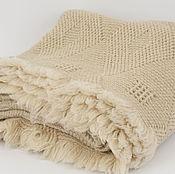 """Для дома и интерьера ручной работы. Ярмарка Мастеров - ручная работа Одеяло """"Ромб"""" 100% шерсть натуральный цвет беж. Handmade."""