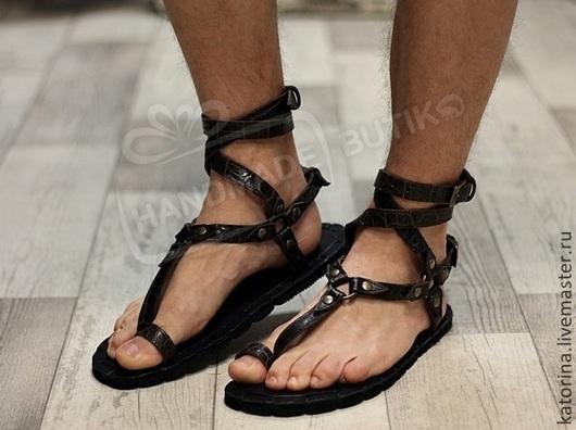 ГРЕЧЕСКИЕ сандалии из коричневой кожи Кроко Унисекс