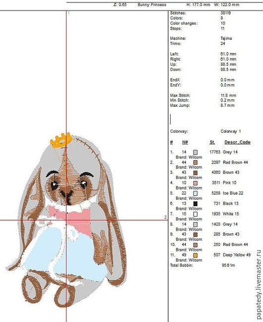 Иллюстрации ручной работы. Ярмарка Мастеров - ручная работа. Купить винтажная кукла зайчик дизайн машинной вышивки. Handmade.