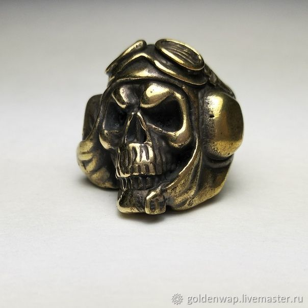 Brass bead on the lanyard ' skull tanker ', Leather Materials, Taganrog,  Фото №1