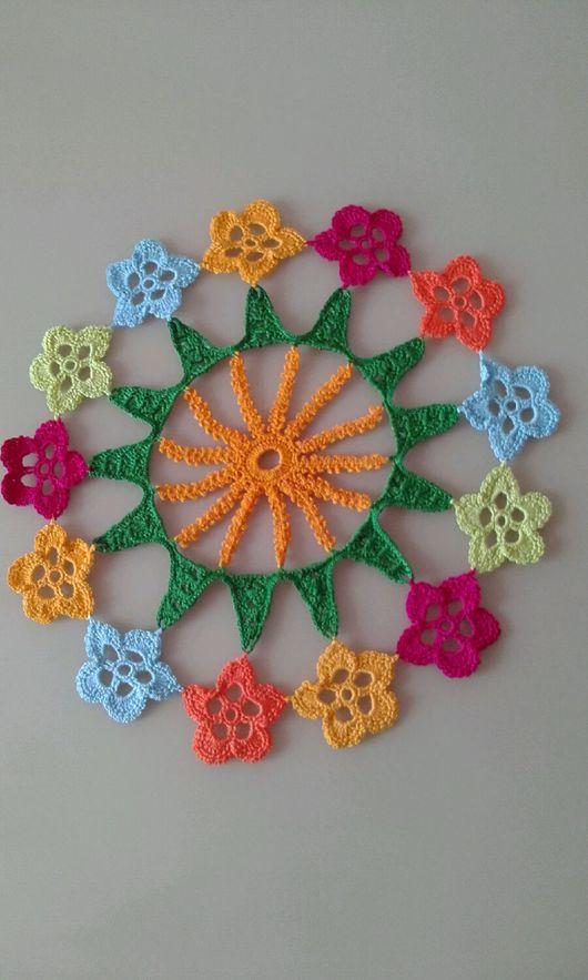 Текстиль, ковры ручной работы. Ярмарка Мастеров - ручная работа. Купить Круглая цветочная салфетка. Handmade. Салфетка, крючком