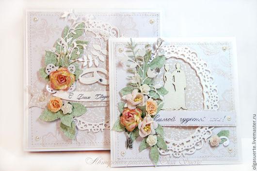 Свадебные открытки ручной работы. Ярмарка Мастеров - ручная работа. Купить Свадебная открытка бежевая в коробке. Handmade. Бежевый