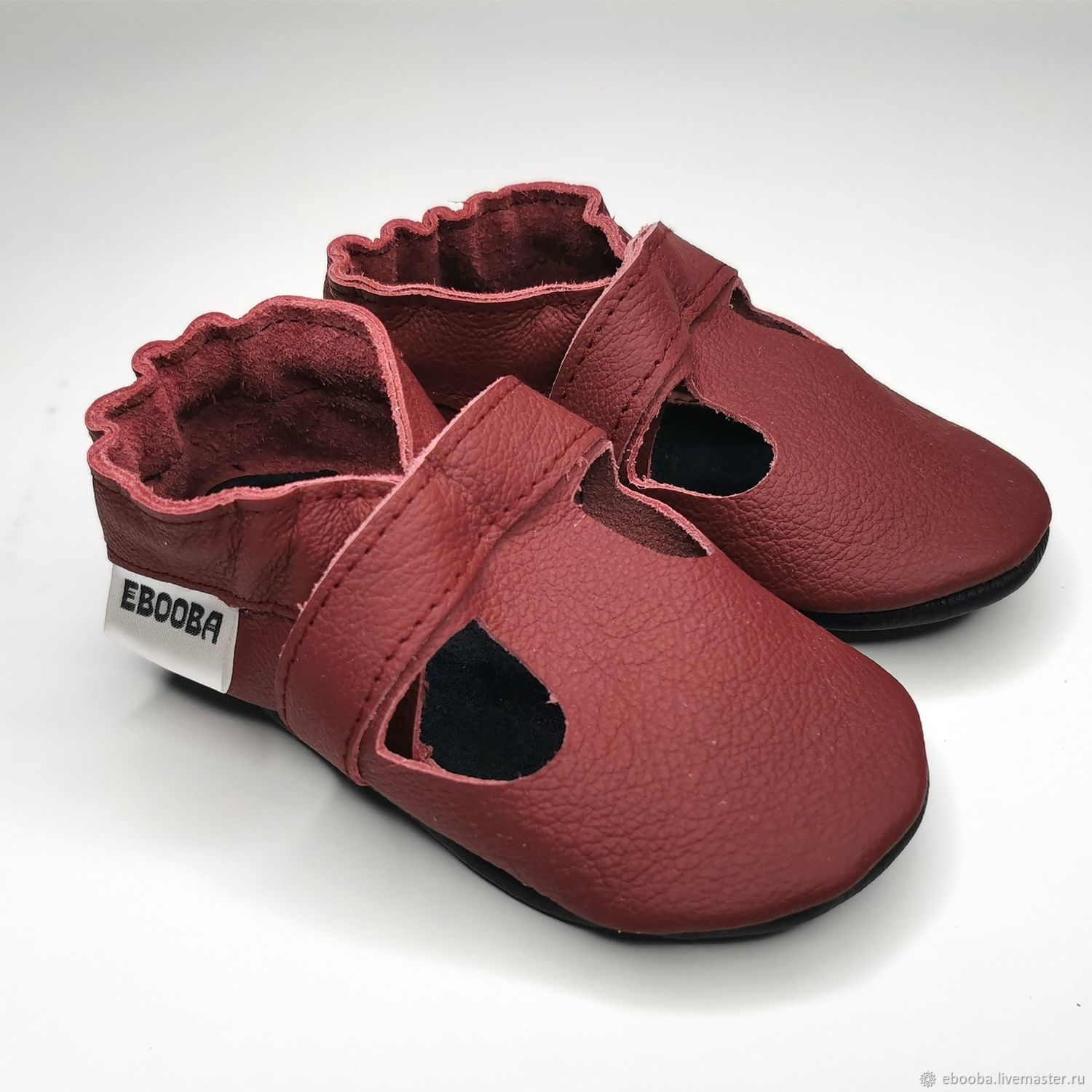 Leather Baby Shoes, Maroon Sandals Soft Sole, Baby Moccasins, Footwear for childrens, Kharkiv,  Фото №1