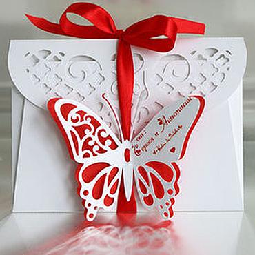 """Свадебный салон ручной работы. Ярмарка Мастеров - ручная работа """"Бабочка"""" конверт для денег. Handmade."""