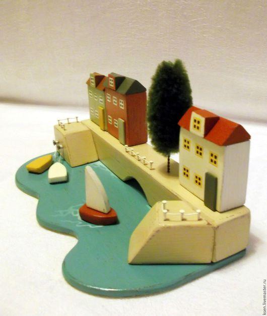 """Элементы интерьера ручной работы. Ярмарка Мастеров - ручная работа. Купить миниатюра """"Город у моря"""". Handmade. Комбинированный, из дерева, вода"""