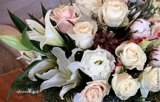 """Свадебные цветы ручной работы. Ярмарка Мастеров - ручная работа. Купить """"Новогодняя""""  свадьба. Handmade. Белый, цветочное оформление, шишки"""