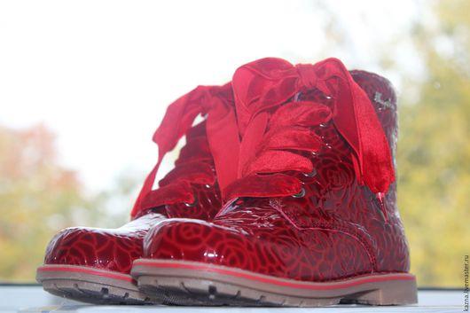 """Обувь ручной работы. Ярмарка Мастеров - ручная работа. Купить Шнурки Бархатные """"Осеннее настроени!"""". Handmade. Ярко-красный, шнурки"""
