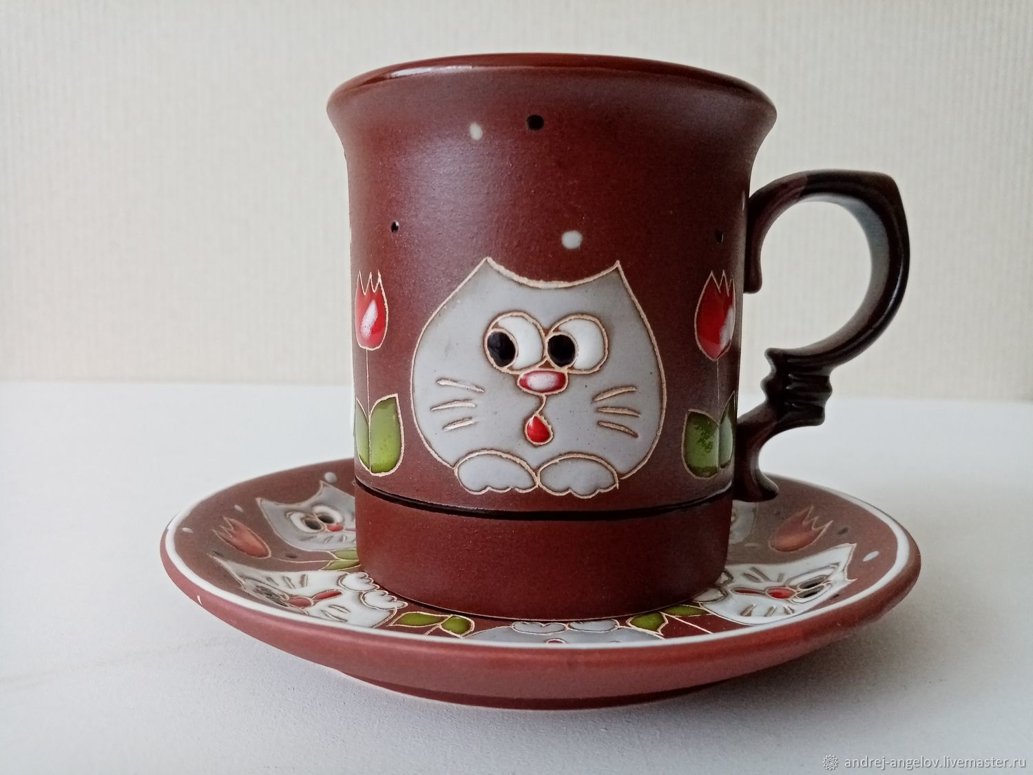 Ceramic decorative vase handmade: Curious cats in tulips, Single Tea Sets, Krasnodar,  Фото №1
