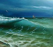 """Картины и панно ручной работы. Ярмарка Мастеров - ручная работа Картина маслом """"Прибрежная волна"""". Handmade."""