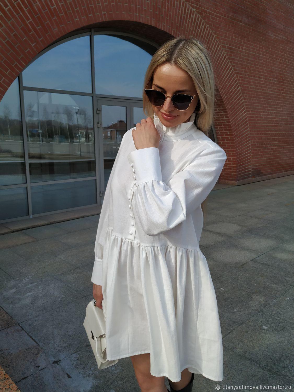 Платье льняное с воротником и длинным рукавом, Платья, Ростов,  Фото №1