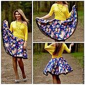 Одежда ручной работы. Ярмарка Мастеров - ручная работа юбка солнце в цветочек. Handmade.